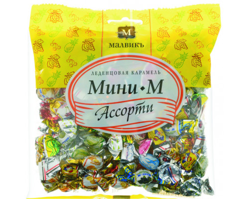 Карамель леденцовая ТМ Малвикъ Мини-М, ассорти, 180 г