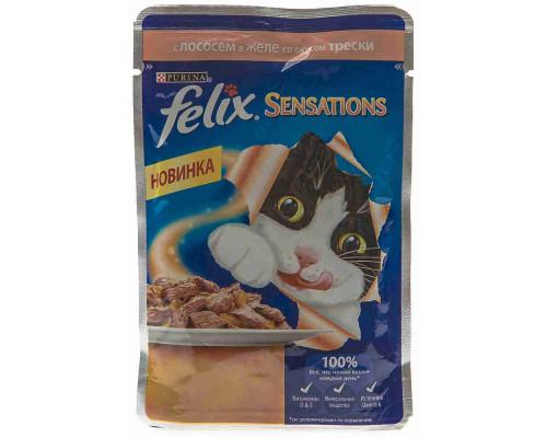 Корм д/кошек Felix Sensations лосось в желе со вкусом трески 85г