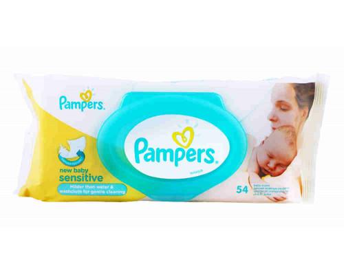 Детские влажные салфетки PAMPERS New Baby Sensitive 54шт ПрепакКороб
