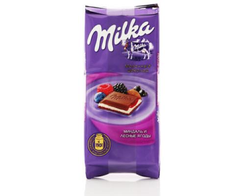 Шоколад молочный Миндаль и лесные ягоды ТМ Milka (Милка)