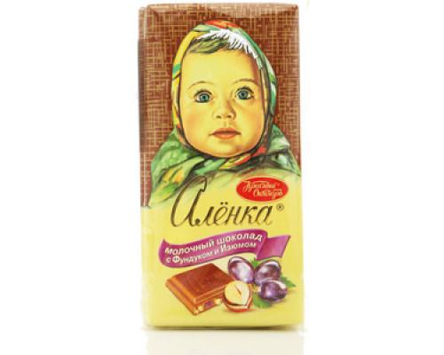 Шоколад ТМ Красный Октябрь, Аленка молочный с фундуком и изюмом 100 г