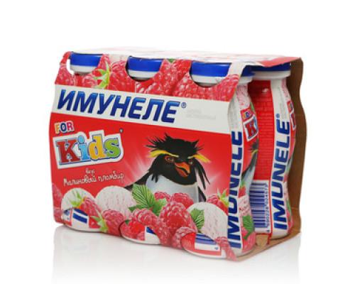 Напиток кисломолочный For Kids (Для Детей) со вкусом малинового пломбира 1,5% ТМ Имунеле, 6*100 мл
