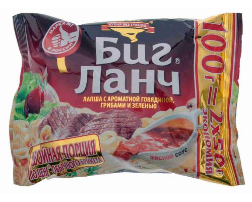Лапша Биг Ланч говядина/грибы/зелень 100г
