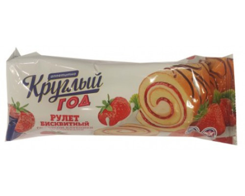 Рулет Круглый год Аппетитно биск., вкус клубника со сливками, 175 г