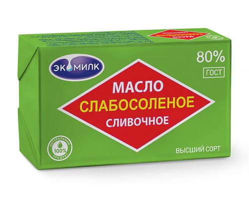 Масло сливочное ТМ Экомилк, слабосоленое, 80%, 180 г
