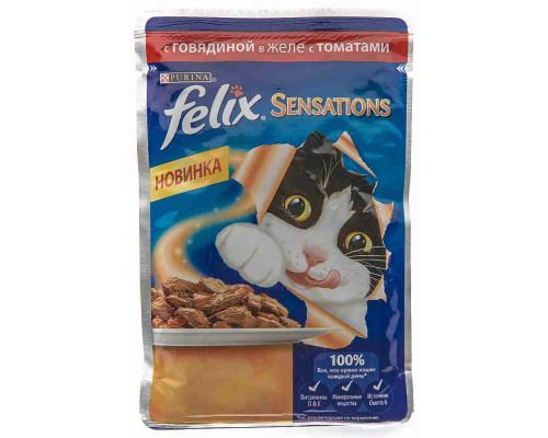 Корм д/кошек Felix Sensations говядина в желе с томатами 85г