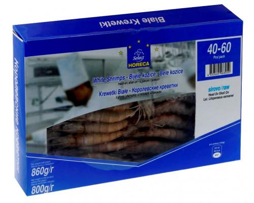Креветки Horeca Select в панцире, с головой, свежемороженые, 40/60, 860 г