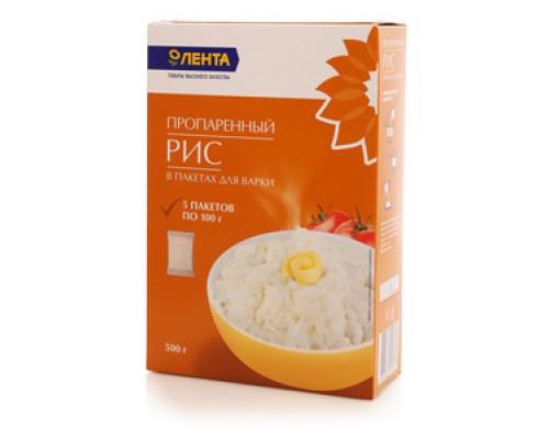 Рис пропаренный в пакетах для варки 5*100г ТМ Лента