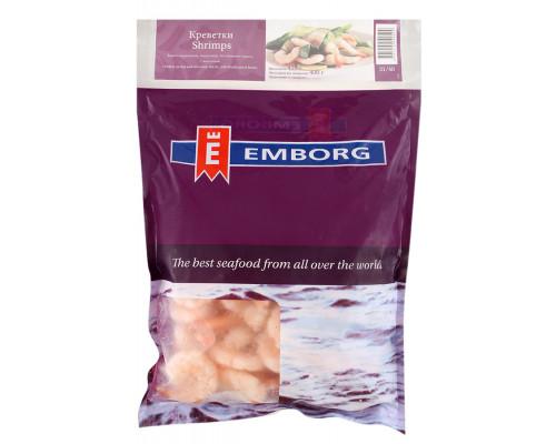 Креветки ТМ Emborg (Эмборг), очищенные, с хвостиком, варено-мороженые, 31/40, 425 г