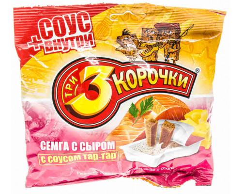 Сухарики ржаные Три корочки сыр/семга + соус Тартар 60г/20г