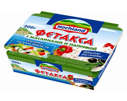 Сырный продукт Hochland Фетакса с маслинами и паприкой 200г