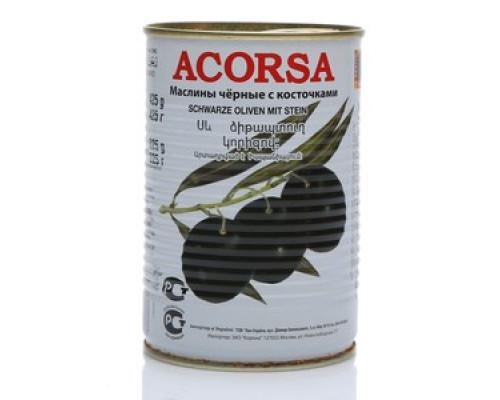 Маслины черные ТМ Acorsa (Акорса) с косточкой, 425 г