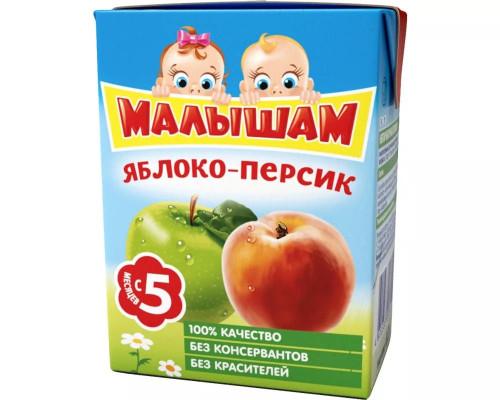 Нектар ТМ Малышам Яблоко-персик, с мякотью, с 5 мес., 200 мл