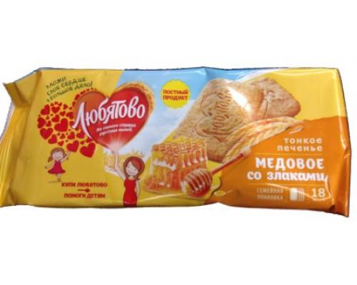 Печенье Любятово, медовое, со злаками, 171 г