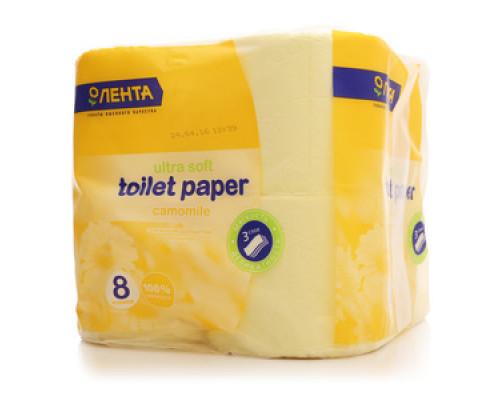 Туалетная бумага 3-слойная ТМ Лента, 8 шт