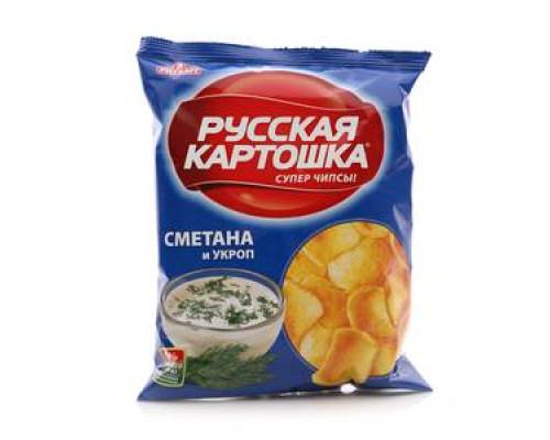 Чипсы картофельные со вкусом сметана и укроп ТМ Русская картошка