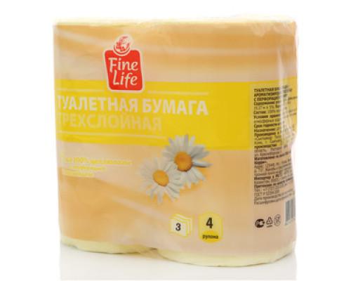 Туалетная бумага трёхслойная Ромашка ТМ Fine life (Файн Лайф), 4 рулона