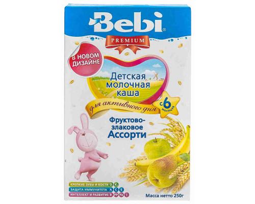 Каша молочная Bebi Premium ассорти фрукты/злаки с 6мес 250г