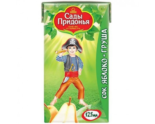 Сок ТМ Сады Придонья Яблоко-груша, с мякотью, 125 мл