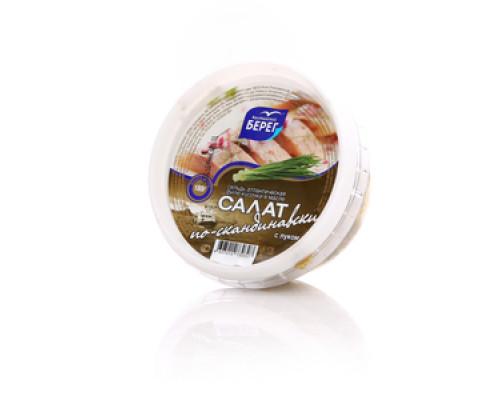 Салат по-скандинавски сельдь Атлантическая филе-кусочки в масле с луком ТМ Балтийский берег