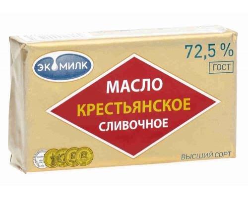 Масло сливочное Экомилк Крестьянское 72,5% 180г фольга
