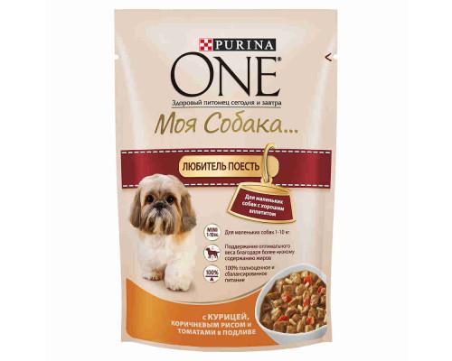 Корм д/собак Purina ONE Моя Собака Любит Есть курица/рис/томаты, 100г