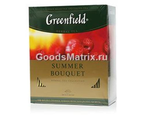 Чай травяной со вкусом и ароматом малины Summer bouquet ТМ Greenfield (Гринфилд), 100 пакетиков
