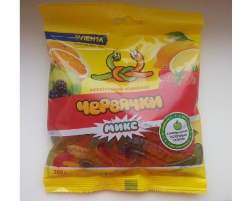 Мармелад жевательный ТМ Лента червячки, микс, 200 г