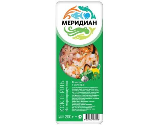Коктейль из морепродуктов Меридиан в масле с зеленью 200 г