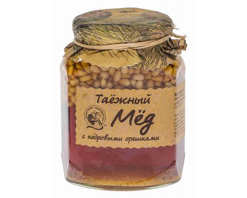 Мед Кедровый Бор Таежный натуральный темный с кедровыми орешками 460г