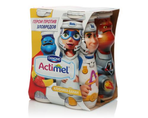 Напиток кисломолочный с клубникой и бананом 2,5% ТМ Actimel (Актимель), 4*100 мл