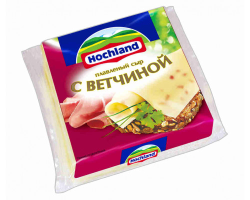 Сыр плавленый Hochland с ветчиной 150г ломтик