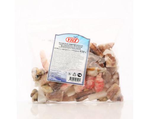 Ассорти из морепродуктов ТМ Vici (Вичи), сыро-мороженых, с изделиями из сурими, 450 г