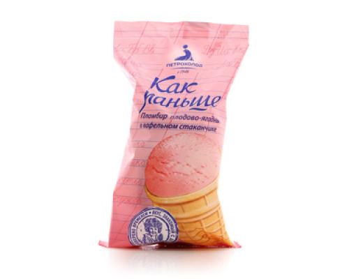 Пломбир плодово-ягодный в вафельном стаканчике 'Как раньше' ТМ Петрохолод