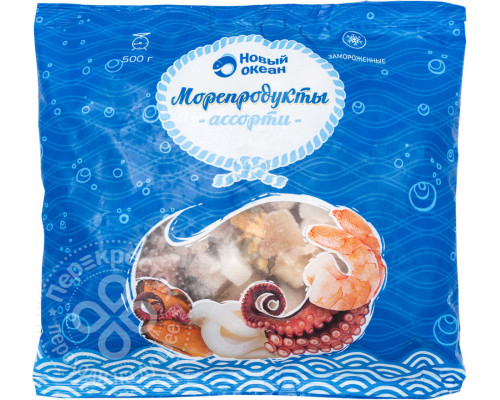 Ассорти из морепродуктов Новый Океан, замороженное, 500 г