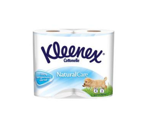 Туалетная бумага Natural Care трехслойная ТМ Kleenex (Клинекс), 4 шт