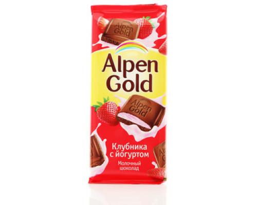 Шоколад ТМ Alpen Gold, молочный с клубнично-йогуртовой начинкой, 90 г