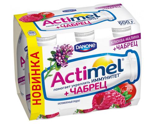 Кисломолочный продукт ТМ Actimel (Актимель) Клюква-Малина-Чабрец, 2,5%, 6х100 г