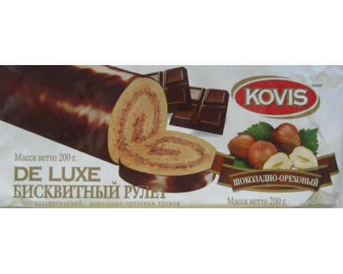 Рулет бисквитный ТМ Kovis De Luxe (Ковис де Люкс) Шоколадно-ореховый, 200 г