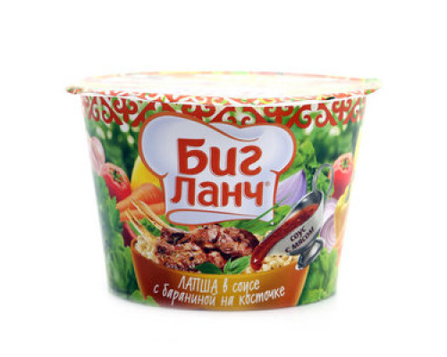 Лапша ТМ Биг Ланч, в соусе с бараниной на косточке, 90 г