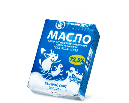 Масло сливочное ТМ Молочная речка, 72,5%, 175 г