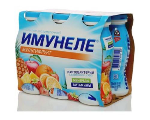 Напиток кисломолочный с мультифруктовым вкусом 1,2% ТМ Имунеле, 6*100 мл