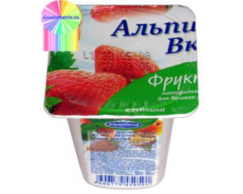 Продукт йогуртный ТМ Alpenland (Альпенлэнд) Клубника - Персик-маракуйя, 0.3%, 95 г