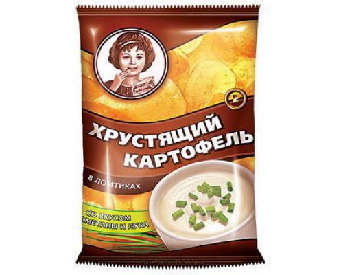 Чипсы картофельные Хрустящий картофель, натуральные, ломтики, со вкусом сметаны и лука, 160 г