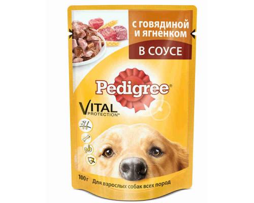 Корм д/взрослых собак Pedigree говядина/ ягненок 100г