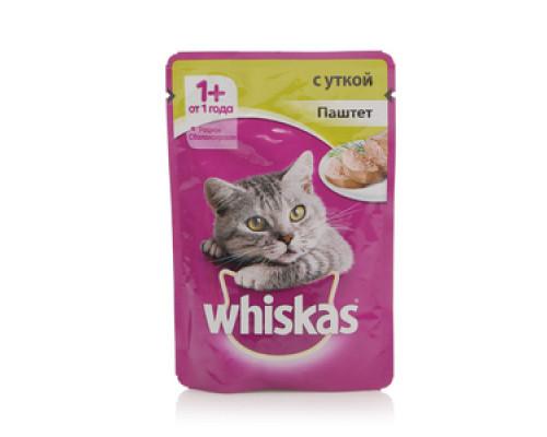 Корм полнорационный для взрослых кошек паштет с уткой ТМ Whiskas (Вискас)