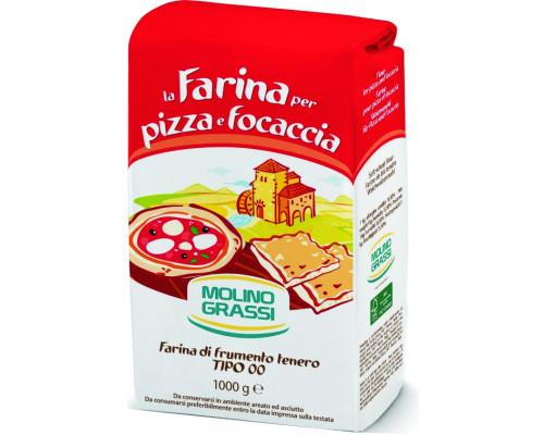 Мука пшеничная ТМ Molino Grassi (Молино Грасси) из мягких сортов пшеницы 00, для пиццы, 1 кг
