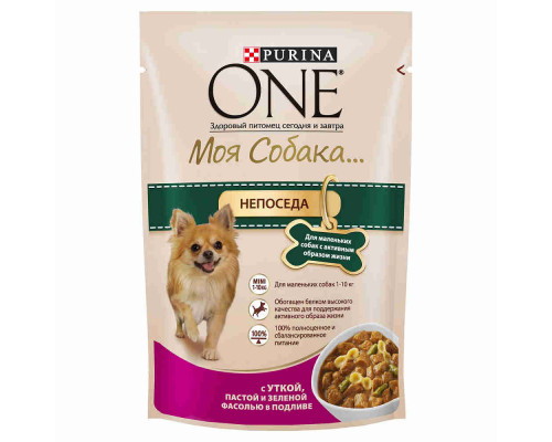 Корм д/собак Purina ONE Моя Собака Непоседа утка/паста/фасоль, 100г