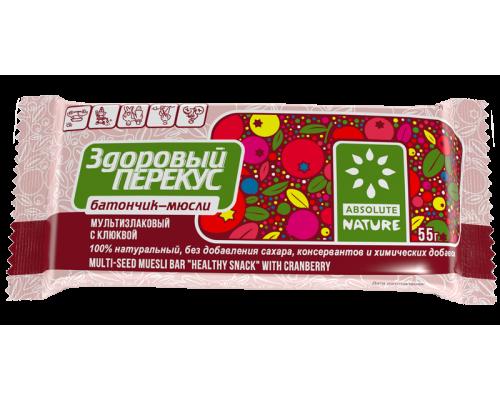 Батончик-мюсли Здоровый перекус с клюквой, 55 г
