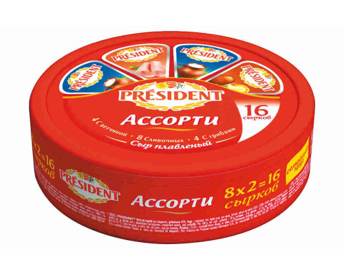 Сыр плавленый President 16 сырков ассорти 280г